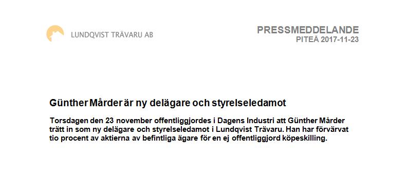 Pressmeddelande - Günther Mårder har köpt in sig i Lundqvist Trävaru AB