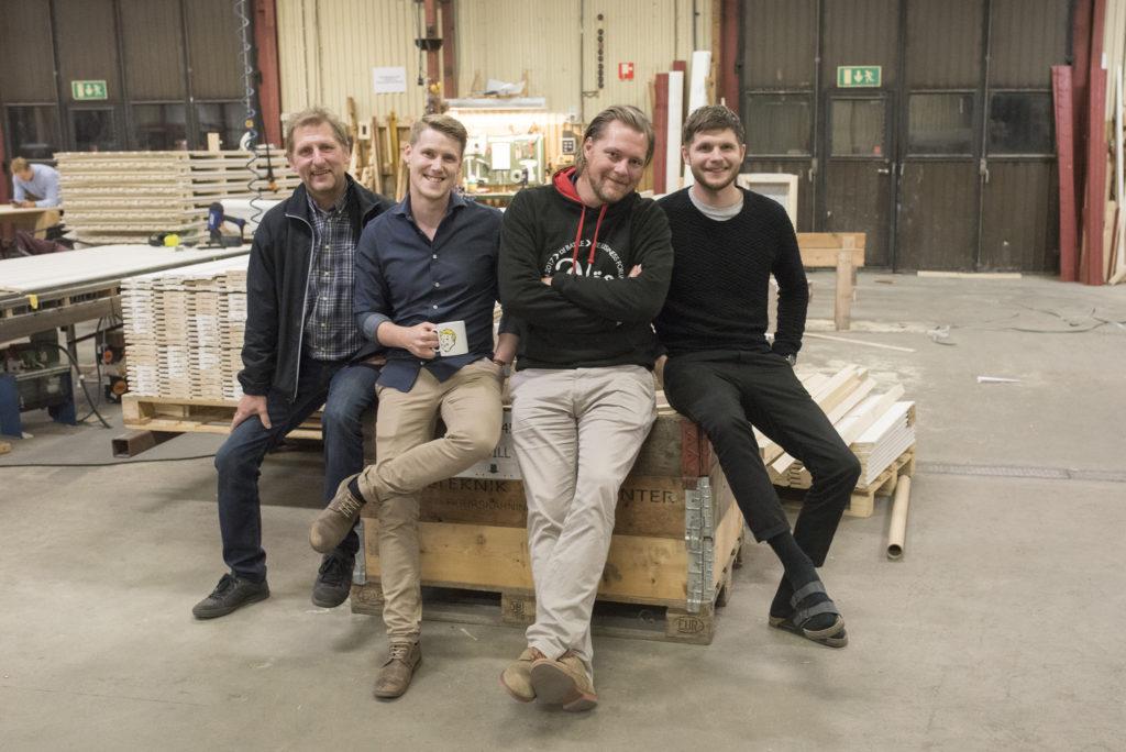 Ägarna till Lundqvist Trävaru AB. Från vänster: Jan Lundqvist, Samuel Holmström, Günther Mårder och Jens Lundqvist.