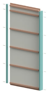 visualisering av hur första väggblocket förbereds med hörnregel och stomregel