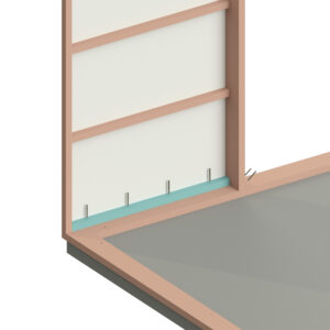 visualisering av hur man monterar första väggblocket på syllen