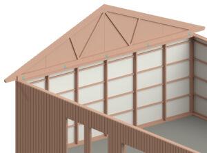 beskriver hur gavelspetsen monteras på byggnaden
